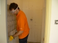 Clearing the tiles on the bathroom wall