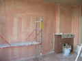 The livingroom which has been prepared to be plastered
