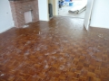 The parquet floor that could not be sanded due to it not being put in properly